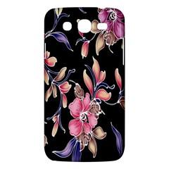 Neon Flowers Black Background Samsung Galaxy Mega 5.8 I9152 Hardshell Case