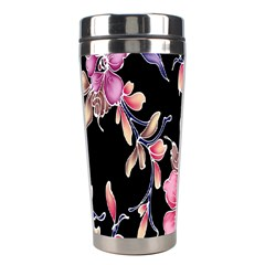 Neon Flowers Black Background Stainless Steel Travel Tumblers