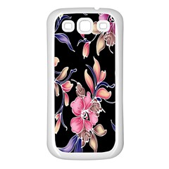 Neon Flowers Black Background Samsung Galaxy S3 Back Case (White)