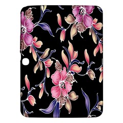 Neon Flowers Black Background Samsung Galaxy Tab 3 (10.1 ) P5200 Hardshell Case