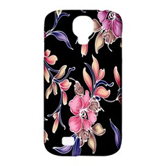 Neon Flowers Black Background Samsung Galaxy S4 Classic Hardshell Case (PC+Silicone)