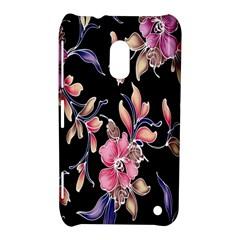Neon Flowers Black Background Nokia Lumia 620