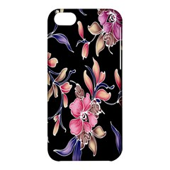 Neon Flowers Black Background Apple Iphone 5c Hardshell Case