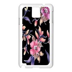 Neon Flowers Black Background Samsung Galaxy Note 3 N9005 Case (White)