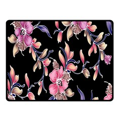 Neon Flowers Black Background Double Sided Fleece Blanket (small)