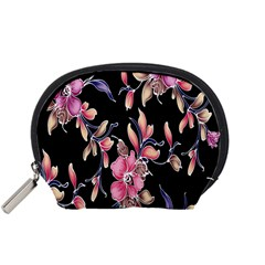 Neon Flowers Black Background Accessory Pouches (Small)