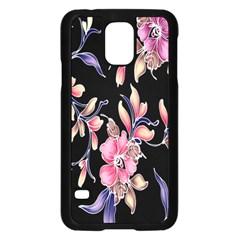 Neon Flowers Black Background Samsung Galaxy S5 Case (Black)
