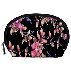 Neon Flowers Black Background Accessory Pouches (Large)