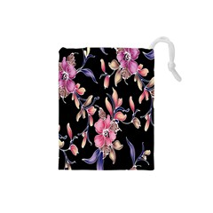 Neon Flowers Black Background Drawstring Pouches (Small)