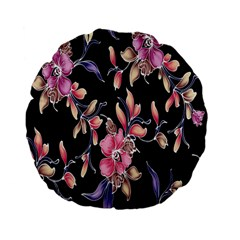 Neon Flowers Black Background Standard 15  Premium Flano Round Cushions