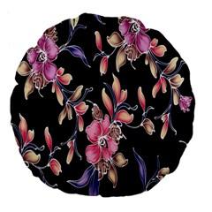 Neon Flowers Black Background Large 18  Premium Flano Round Cushions