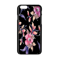 Neon Flowers Black Background Apple Iphone 6/6s Black Enamel Case