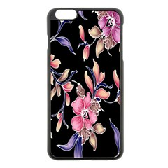 Neon Flowers Black Background Apple iPhone 6 Plus/6S Plus Black Enamel Case
