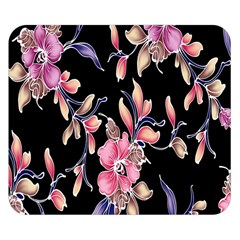 Neon Flowers Black Background Double Sided Flano Blanket (Small)