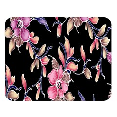 Neon Flowers Black Background Double Sided Flano Blanket (Large)