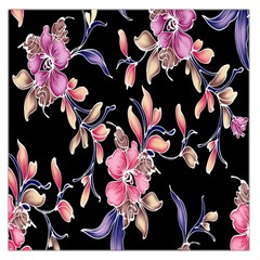 Neon Flowers Black Background Large Satin Scarf (square)