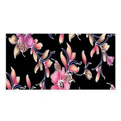 Neon Flowers Black Background Satin Shawl
