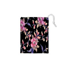 Neon Flowers Black Background Drawstring Pouches (XS)