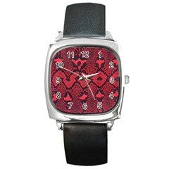 Leather Point Surface Square Metal Watch
