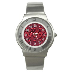 Leather Point Surface Stainless Steel Watch