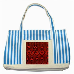 Leather Point Surface Striped Blue Tote Bag