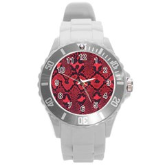 Leather Point Surface Round Plastic Sport Watch (L)