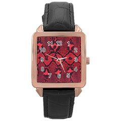 Leather Point Surface Rose Gold Leather Watch