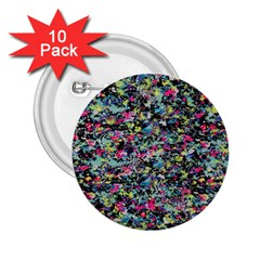 Neon Floral Print Silver Spandex 2.25  Buttons (10 pack)
