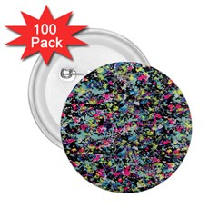 Neon Floral Print Silver Spandex 2 25  Buttons (100 Pack)