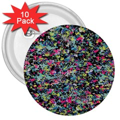 Neon Floral Print Silver Spandex 3  Buttons (10 pack)