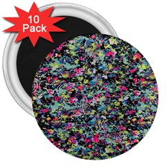 Neon Floral Print Silver Spandex 3  Magnets (10 pack)