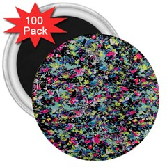 Neon Floral Print Silver Spandex 3  Magnets (100 pack)