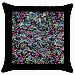 Neon Floral Print Silver Spandex Throw Pillow Case (black)