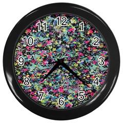 Neon Floral Print Silver Spandex Wall Clocks (black)