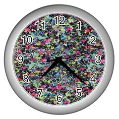 Neon Floral Print Silver Spandex Wall Clocks (Silver)