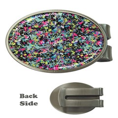 Neon Floral Print Silver Spandex Money Clips (Oval)