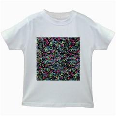 Neon Floral Print Silver Spandex Kids White T Shirts