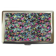 Neon Floral Print Silver Spandex Cigarette Money Cases