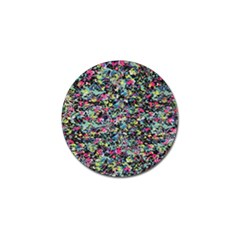 Neon Floral Print Silver Spandex Golf Ball Marker (4 pack)