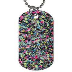 Neon Floral Print Silver Spandex Dog Tag (Two Sides)