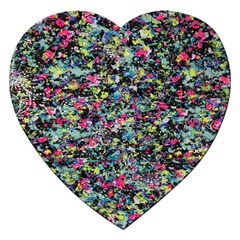 Neon Floral Print Silver Spandex Jigsaw Puzzle (Heart)