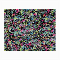 Neon Floral Print Silver Spandex Small Glasses Cloth