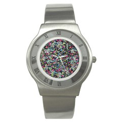 Neon Floral Print Silver Spandex Stainless Steel Watch