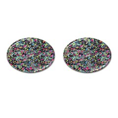 Neon Floral Print Silver Spandex Cufflinks (oval)
