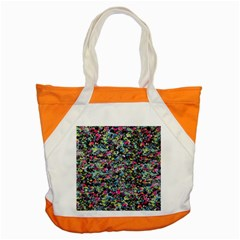 Neon Floral Print Silver Spandex Accent Tote Bag