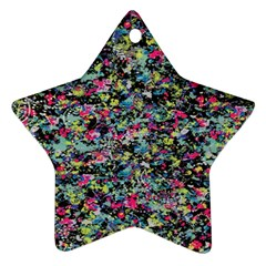 Neon Floral Print Silver Spandex Star Ornament (Two Sides)