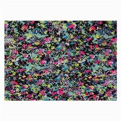 Neon Floral Print Silver Spandex Large Glasses Cloth (2-Side)