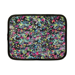 Neon Floral Print Silver Spandex Netbook Case (Small)