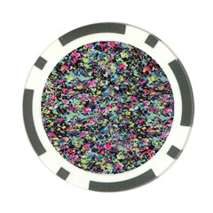 Neon Floral Print Silver Spandex Poker Chip Card Guard (10 pack)