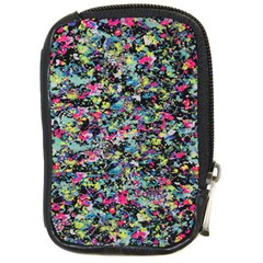 Neon Floral Print Silver Spandex Compact Camera Cases
